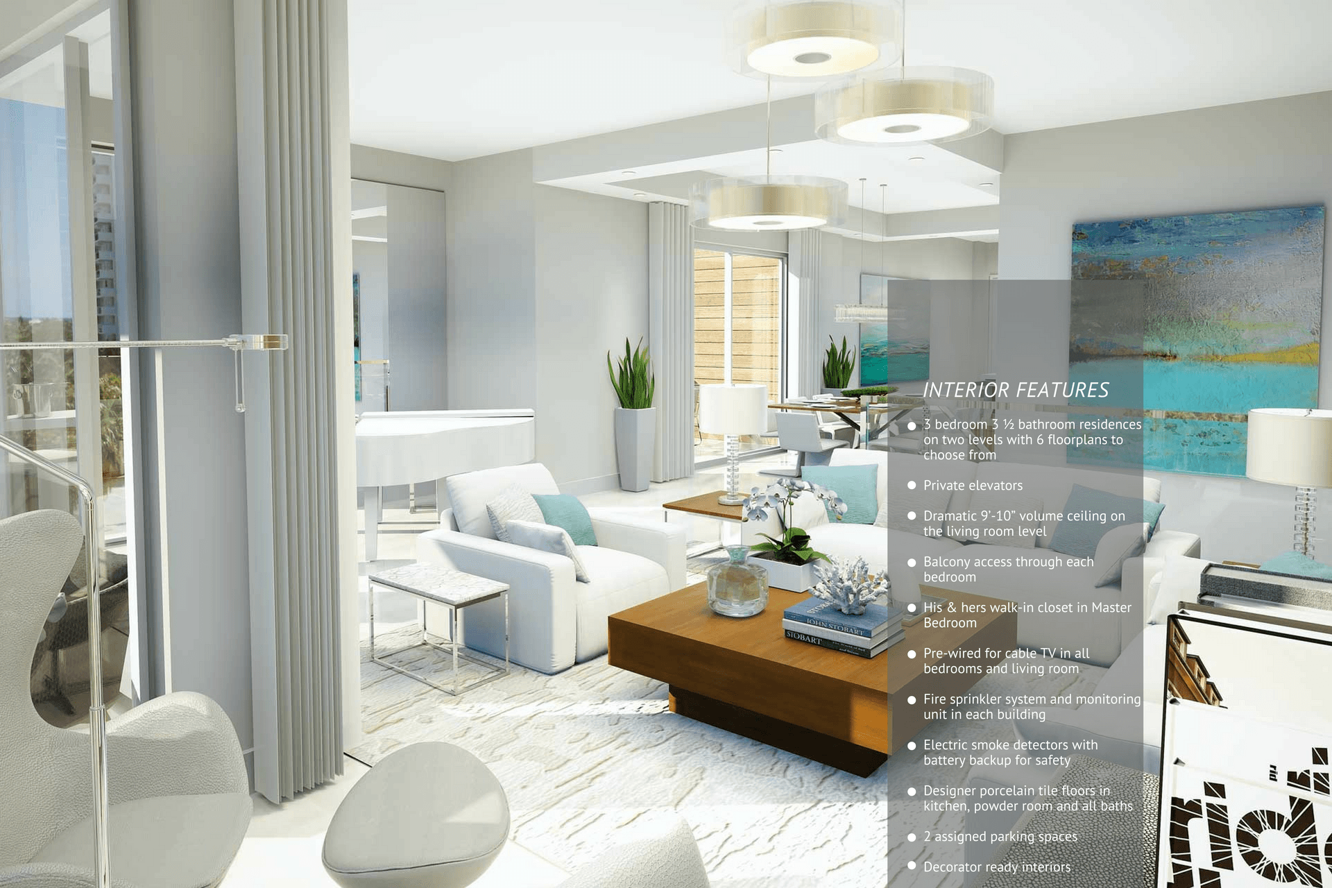 A complete list of 30 Thirty's luxury interior features and amenities