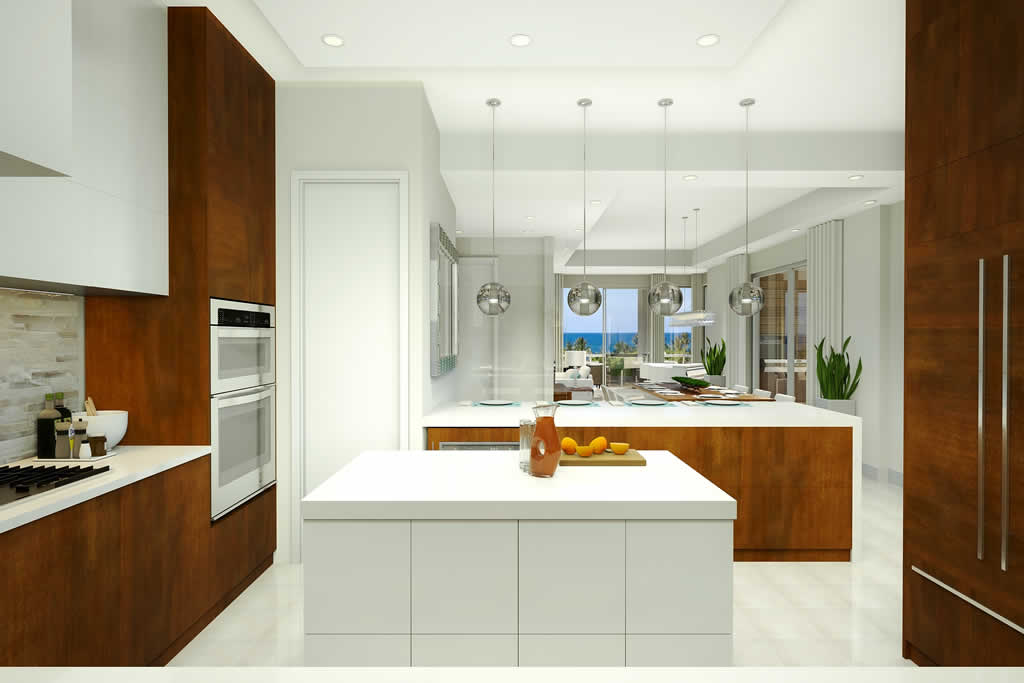 Large spacious kitchen with large island