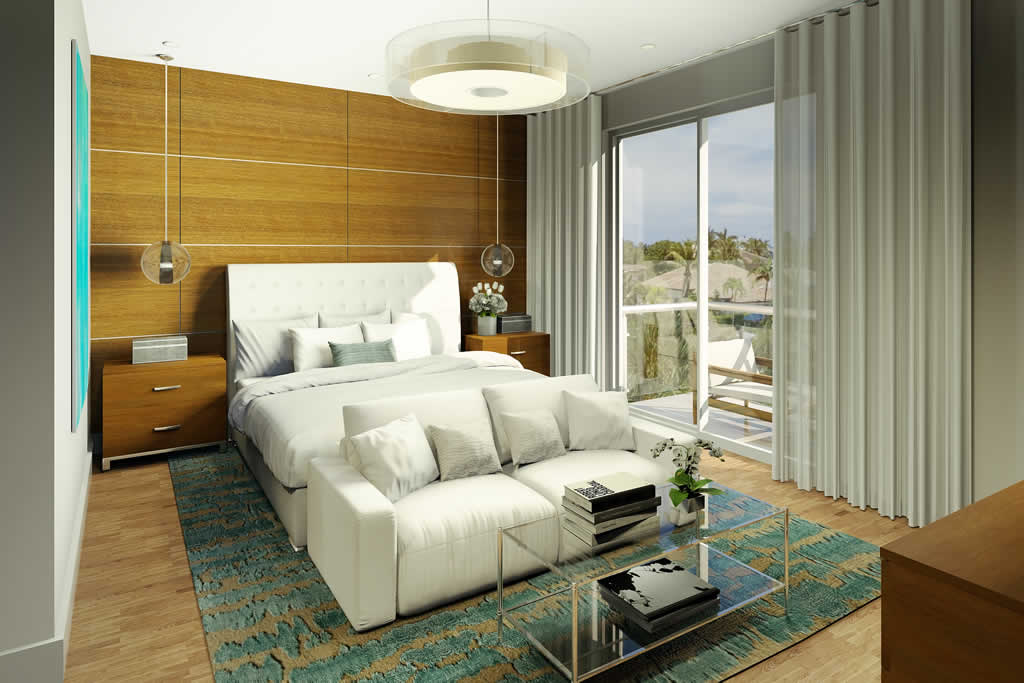 A view of the master bedroom in 30 Thirty North Ocean