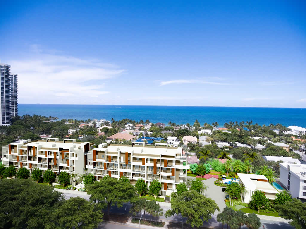An aerial view of 3030 north ocean blvd